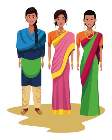indian indian woman wearing traditional hindu clothes woman with braid and women wearing sari and jewelry profile picture avatar cartoon character portrait vector illustration graphic design