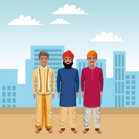 indian indian men wearing traditional hindu clothes man with moustache and turban and men with beard and turban profile  イラスト・ベクター素材