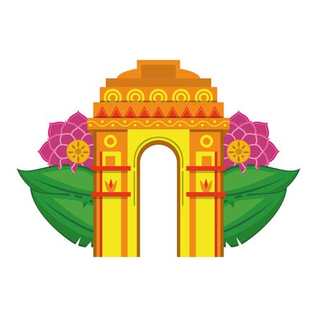 indian building monuments with gateway of india with lotus flower icon cartoon vector illustration graphic design