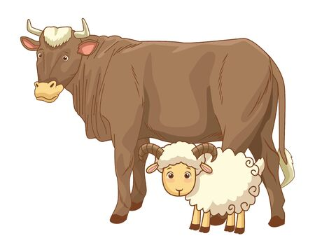 Cow and goat animals cartoon isolated vector illustration graphic design 일러스트