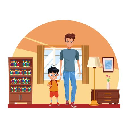 Family single father with kid holding school backpack inside home scenery background ,vector illustration.  イラスト・ベクター素材