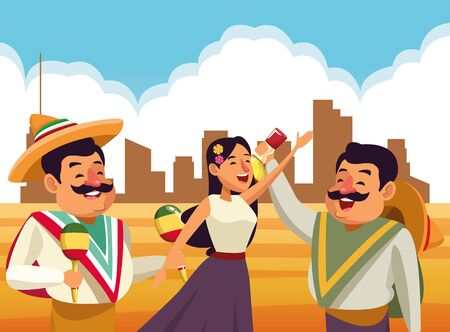 mexican traditional culture mariachis singer woman with flower in her hair, man with moustache, mexican hat and maracas and man with moustache, mexican hat and tequila bottle avatar cartoon character