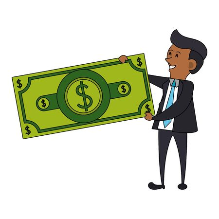 saving money finance banking, executive business man with cash money cartoon vector illustration graphic design
