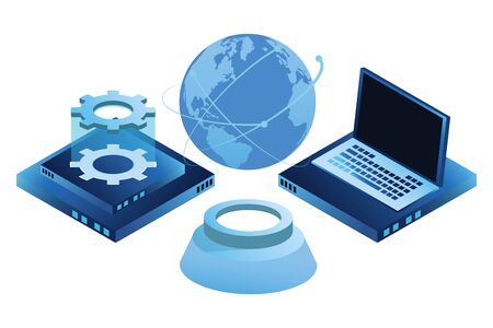 computing global technology and networking with laptop hard disk drive isolated vector illustration graphic design