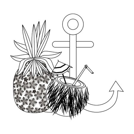summer beach and vacation with pineapple, coconut beverage, anchor icon cartoons in black and white vector illustration graphic design