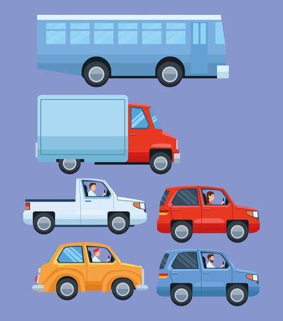 Set von Fahrzeugen, Geländewagen und Auto mit LKW- und öffentlichen Busvektorillustrationsgrafikdesign abholen.