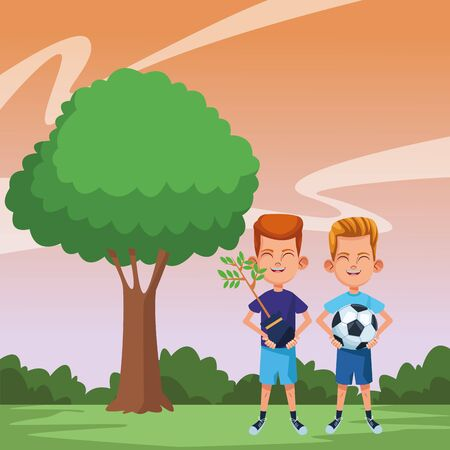 two young little kids boy carrying a plant and boy holding a soccer balloon avatar carton character vector illustration graphic design