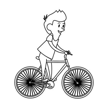 boy young child infancy, boy riding bike cartoon vector illustration graphic design Illustration
