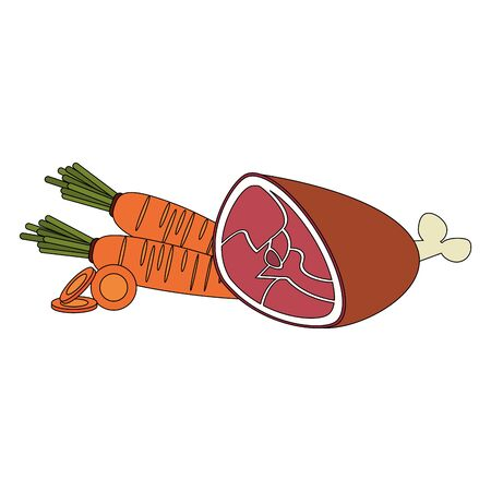 Healthy food and delicious ingredients carrots and beef meat vector illustration graphic design Ilustracja