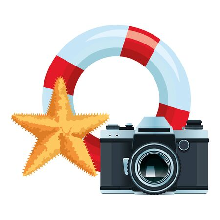 summer beach and vacation with lifebuoy, photographic camera and starfish icon cartoon vector illustration graphic design Иллюстрация