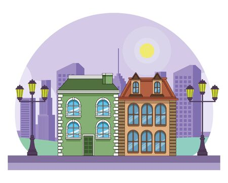 Urban buildings and city architecture, modern classics and antiques real estates edifices in black and white vector illustration graphic design. Фото со стока - 129273052