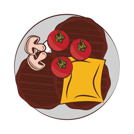 Barbecue food burgers and cheese with tomatos and mushrooms vector illustration graphic design