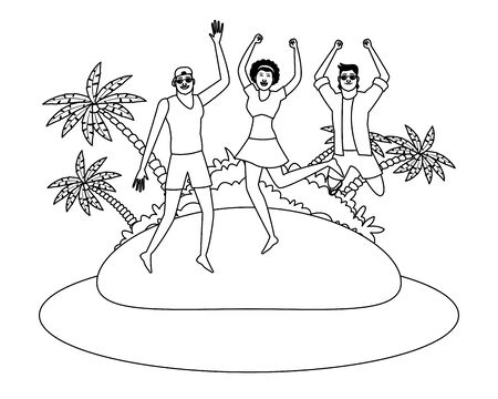 Young friends enjoying summer and jumping in swimsuit in the beach scenery vector illustration graphic design