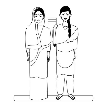 indian family woman with braid young girl with sari in black and white profile picture avatar cartoon character portrait vector illustration graphic design  イラスト・ベクター素材