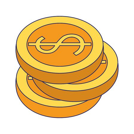 Money coins stacked isolated symbol vector illustration graphic design