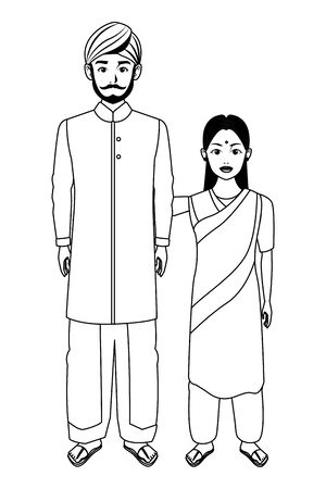indian family man with beard and turban young girl with sari in black and white profile picture avatar cartoon character portrait vector illustration graphic design  イラスト・ベクター素材