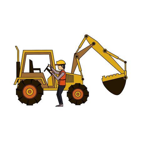 construction architectural engineering wor, heavy excavator working with worker cartoon vector illustration graphic design Иллюстрация
