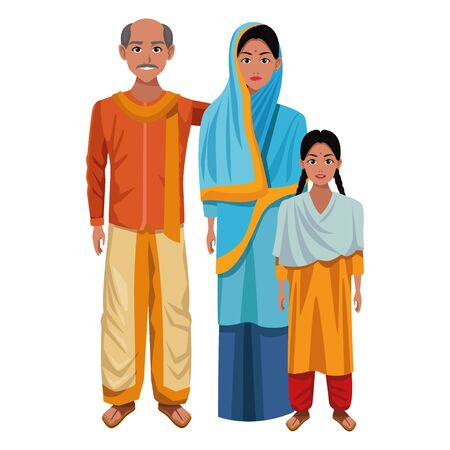 indian family woman with hiyab and man with moustache and bald next to young girl with braid wearing traditional hindu  イラスト・ベクター素材