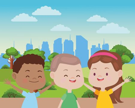 Happy kids smiling and playing with friends cartoon in the park over cityscape urban scenery ,vector illustration graphic design. Фото со стока - 129269925
