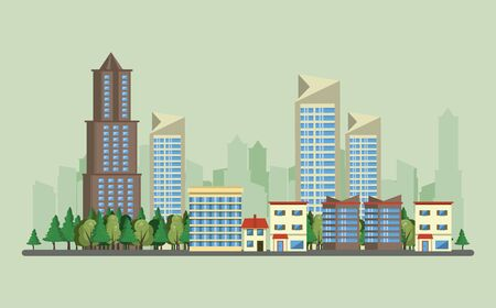 Urban buildings with cityscape horizontal scenery banner vector illustration graphic design Фото со стока - 129273415