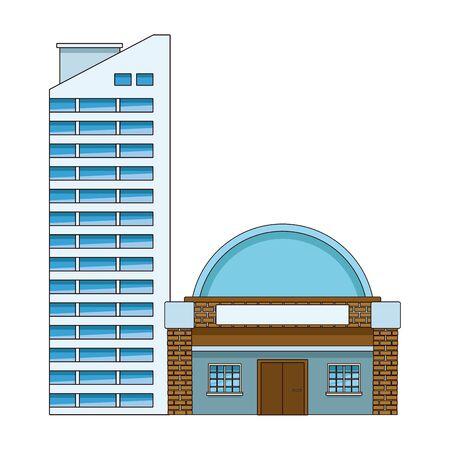 Urban buildings and city architecture, modern classics and antiques real estates edifices vector illustration graphic design. Vettoriali