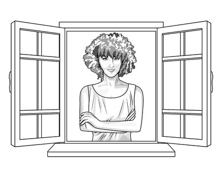 Pop art beautiful woman smiling with curly hair cartoon looking from the window ,vector illustration graphic design. Ilustração