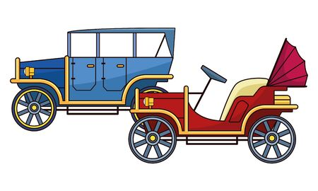 Vintage and classic cars antique vehicles vector illustration graphic design.