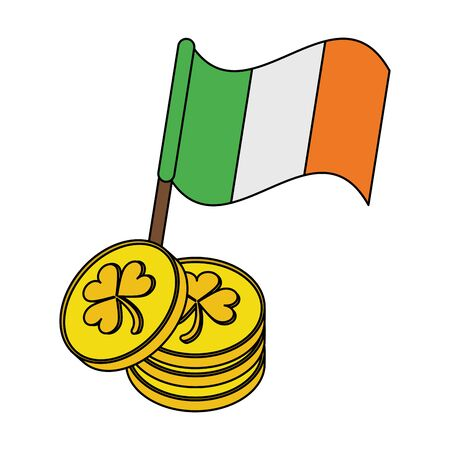 saint patricks day irish tradition golden coins with ireland flag cartoon vector illustration graphic design