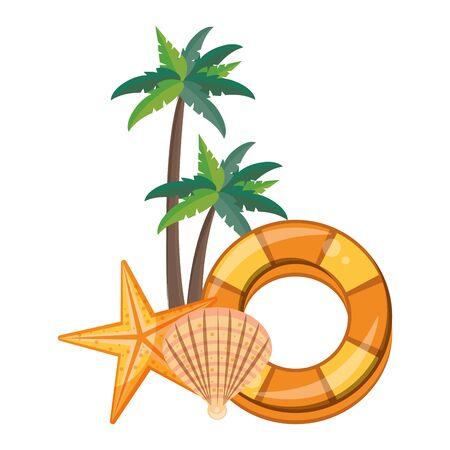 summer beach and vacation with palms, shell, starfish icon cartoons vector illustration graphic design Illusztráció