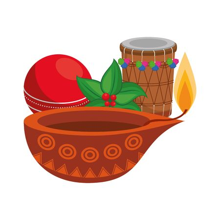 traditional indian culture elements with drum, lamp and cricket ball icon cartoon vector illustration graphic design