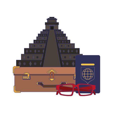 Travel vacations and summer pyramid passport and glasses cartoons Illusztráció