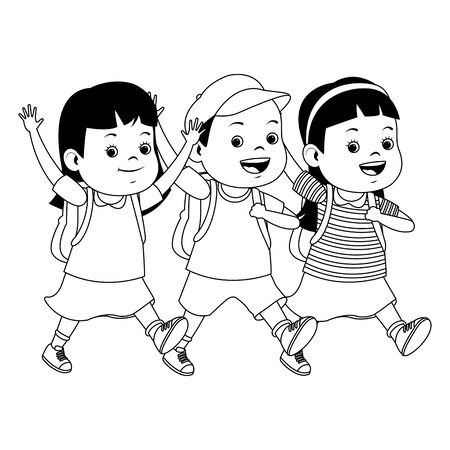 Happy school students kids smiling and running with backpack ,vector illustration graphic design.