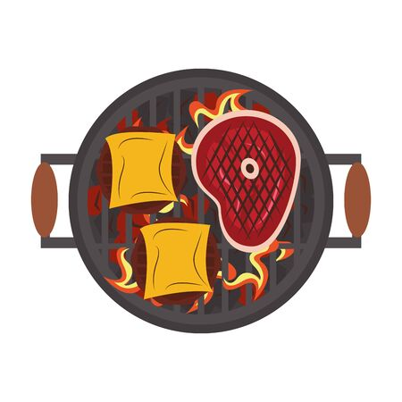 Barbecue food burgers in cheese and steak in grill vector illustration graphic design 일러스트