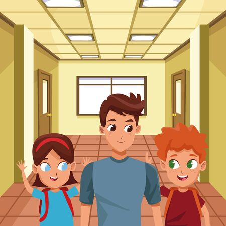 Family single father with kids holding school backpack inside building with windows background ,vector illustration.