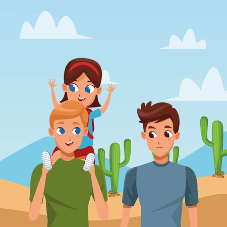 Family two fathers with children holding backpack in the desert camoing adventure ,vector illustration.