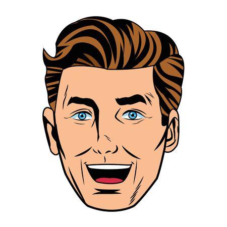 Pop art handsome caucasian man smiling face portrait isolated vector illustration graphic design