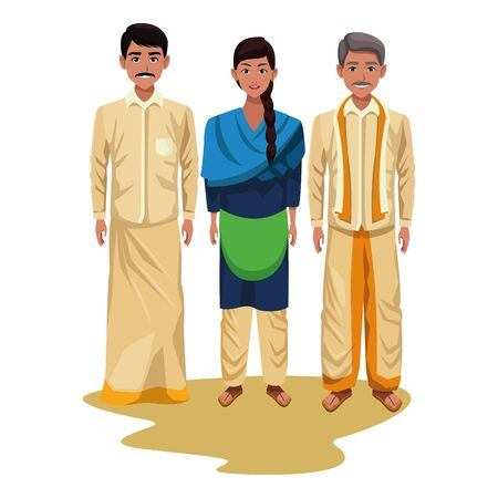 group of indian people avatar wearing traditional hindu clothes men with moustache and woman with braid profile Banque d'images - 129382729