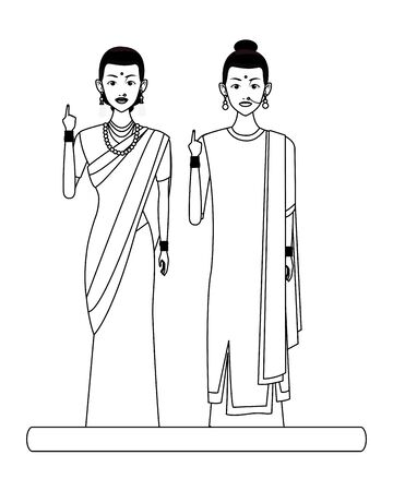 two indian women wearing traditional hindu clothes women with sari and jewelry in black and white profile picture avatar cartoon character portrait vector illustration graphic design Banque d'images - 129382740