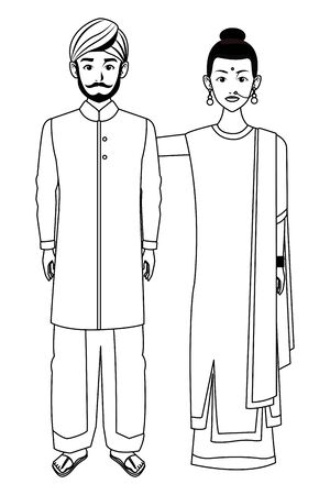 indian family woman with braid young girl with sari in black and white profile picture avatar cartoon character portrait vector illustration graphic design Banque d'images - 129382779