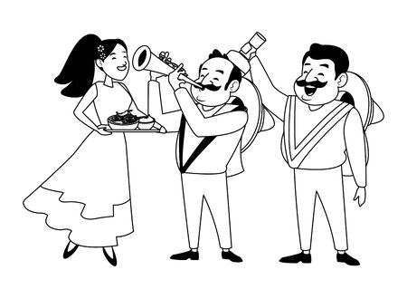 mexican food and tradicional culture with a mariachis man with mexican hat, moustache and trumpet, man with mexican hat, moustache and tequila bottle and woman holding a tray with chili, beans and gua