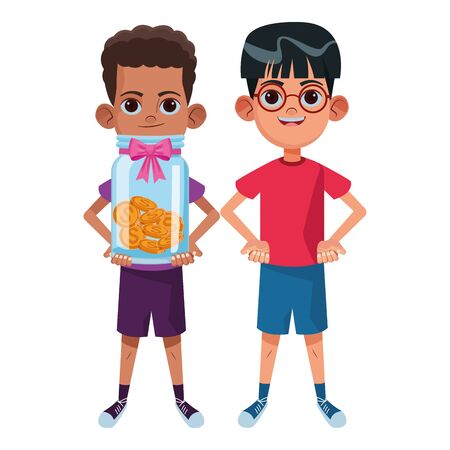 two young little kids boy with glasses and afroamerican boy holding a glass jar with coins avatar carton character vector illustration graphic design Иллюстрация