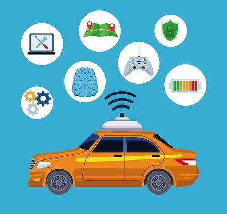 taxi car service location concept technology icons with computer, maps, battery sign and shield protection cartoon vector illustration graphic design