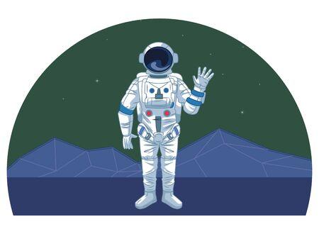 space exploration astronaut saying hi with retro futuristic mountain landscape icon cartoon vector illustration graphic design