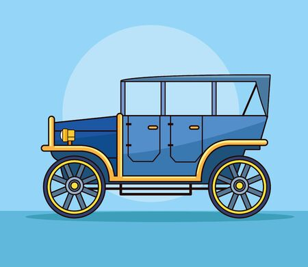 Antique classic car vehicle sideview on blue background ,vector illustration graphic design.