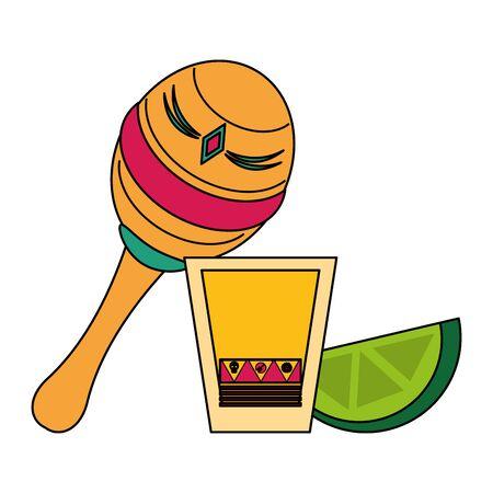 Mexico tequila shot maracas and lemon celebrations cartoons vector illustration graphic design  イラスト・ベクター素材