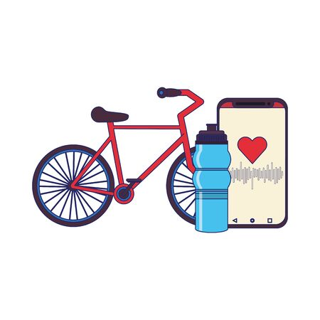 fitness equipment workout health and bicycle, smartphone water flask symbols vector illustration graphic design