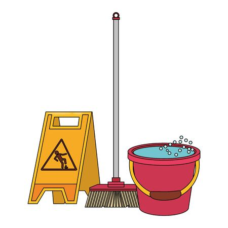 Cleaning equipment and products wet floor sign and broom with water bucket vector illustration graphic design. 일러스트