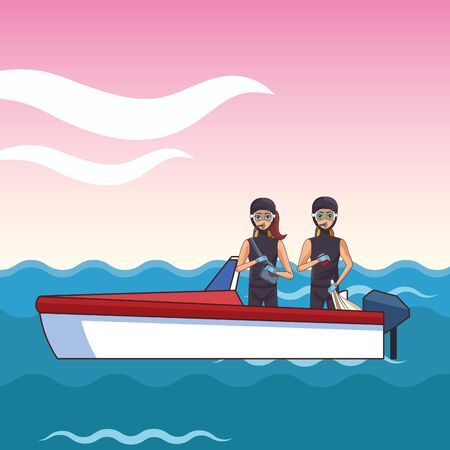 boat boarding with two person with scuba icon cartoon over the sea with colorful background vector illustration graphic design