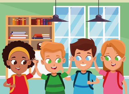 childhood cute school students happy friends wearing backpack cartoon inside classroom school interior vector illustration graphic design. Ilustração