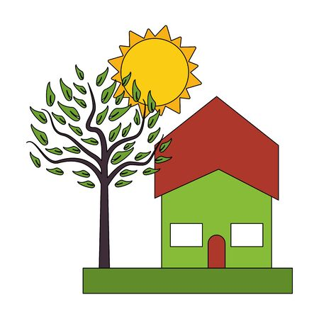 urban house residence home, outdoor scene with tree and sun cartoon vector illustration graphic design vector illustration graphic design